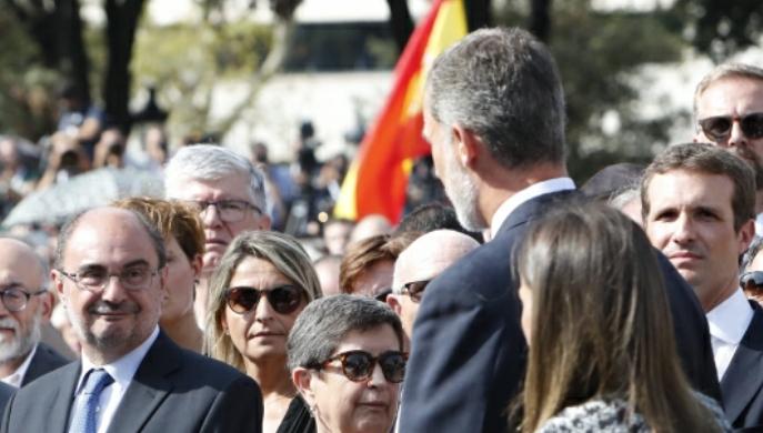 Aragón presente en el homenaje a las víctimas del atentado terrorista de Barcelona