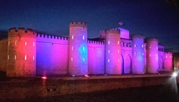 Las Cortes renuevan la iluminación exterior de la Aljafería con tecnología led